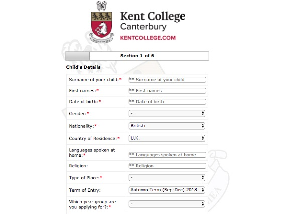 Kent College UK registration form
